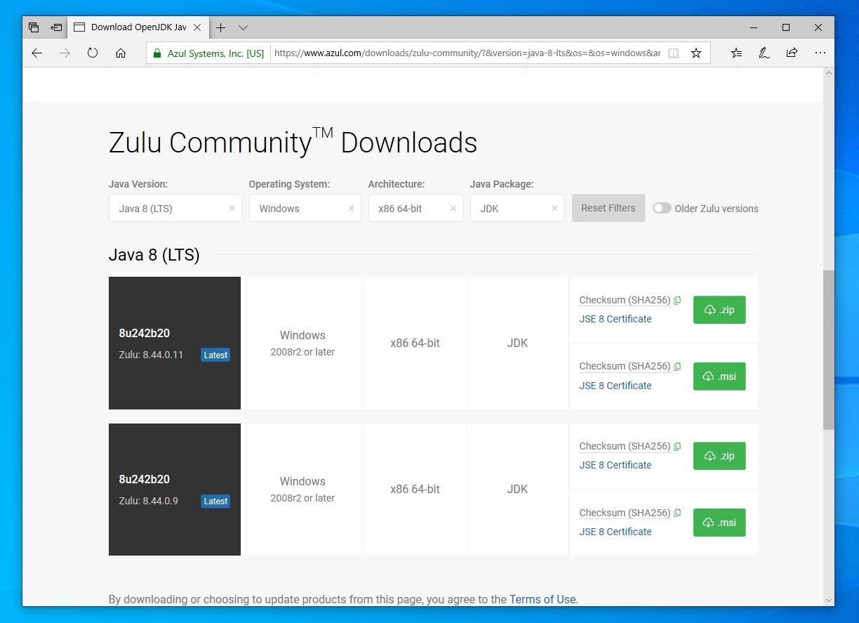 Снимок экрана сайта Azul Systems